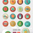 Vector school workspace. Three dimensional education and school icons set. Flat style, long shadows. High school object, college items. Back to school. Creative button with  teenager objects. — Stock Vector #64993769