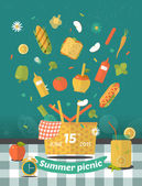 Vector family picnic glade illustration. Food and pastime icons. Flat. Barbecue object,  picnic items. Design of invitation card. Creative banner with flying food. Natural ingredients on tablecloth . — Vector de stock