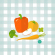 Vector vegetables, fruit illustration. Minimalist fresh food icon in flat style. Pepper, tomato, carrot, blueberry, apple, broccoli, mint. Checkered tablecloth background. — Stockvector  #78131254