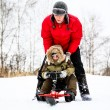Mother and her little son enjoying a sledge ride in a snowy park — Stock Photo #61297101