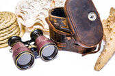 Antique binoculars with leather case , rope and  star fish  isolated on white — Fotografia Stock