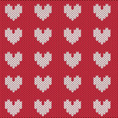 Knitted pattern for Valentines Day — Stock Vector