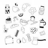 Assortment of doodle food for breakfast — Stock Vector