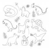 Set of doodle dinosaur — Stock Vector