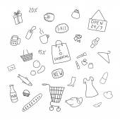 Collection of items from the shopping areas — Stock Vector