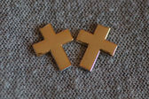 Two golden cross next to each other — Stockfoto
