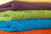 Different colour towels on each other — Stock Photo