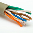 Macro view of a peeled internet cable — Stock Photo #67606405