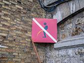Sign in Paris France prohibiting public urination — Stock Photo