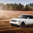 Car drive speed fast on the dirty off-road range rover — Stock Photo #75065975