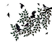Flock of birds sits on branch of tree — Stock Vector