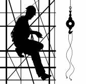 Worker is climbing on metal scaffolding — Stock Vector
