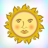 Sun with retro face — Stock Vector