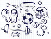 Set of sports equipment. — Stock Vector