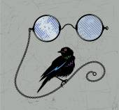 Pince-nez and small bird — Stock Vector