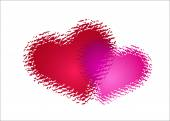 Two red hearts — Stock Vector
