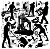 Set of silhouettes of workers and tools — Stock Vector