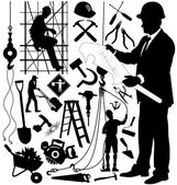 Set of silhouettes of construction workers and tools — Stock Vector