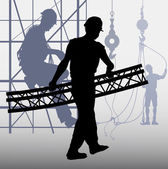 Construction workers Silhouette — Stock Vector