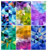 Set of colorful polygonal mosaic backgrounds — Stock Vector