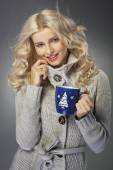 Charming young lady with cup of coffee — Foto de Stock