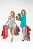 Two charming ladies with plenty of shopping bags — Stock Photo