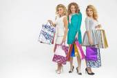 Attractive girlfriends on sale shopping — Stockfoto