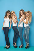 Portrait of four pretty ladies — Stockfoto