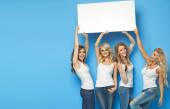 Attractive girlfriends carrying empty board — Foto Stock