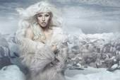 Snow queen on the ice island — Stock Photo
