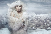 Snow queen on the ice island — Stockfoto