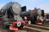 Picture of the black antique locomotives — Stock Photo