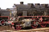 Two huge and heavu antique locomotives — Stock Photo