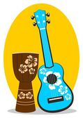 Ukulele and drum — Stock Vector