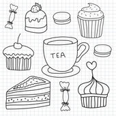 Hand drawn cakes, sweets, tea — Stock Vector