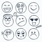 Hand drawn faces, smiles — Stock Vector