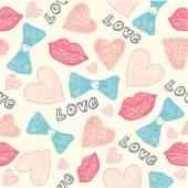 Wedding, valentine hipster  doodle pattern — Stock Vector