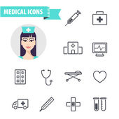 Set of line medical  icons — Stock Vector