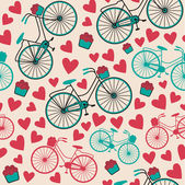 Bicycle, hearts, flowers background — Stock Vector