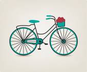 Bicycle with basket with flowers — Stock Vector