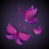 Set of shiny butterflies — Stock Vector