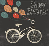 Birthday card with bicycle and balloons — Stock Vector