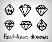 Hand-drawn diamond icons — Stock Vector