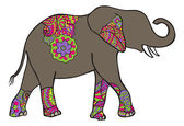 Indian elephant with colorful patterni — Stock Vector