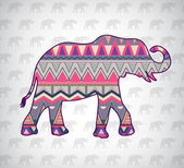Elephant with pattern — Stock vektor