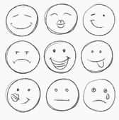 Hand drawn faces — Stock Vector