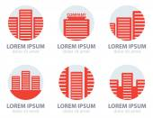 Red apartment icons — Stock Vector