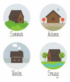 Set of village houses — Stock Vector