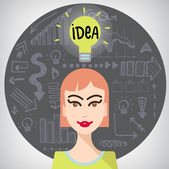 Girl with idea — Stock Vector