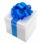 Present box with blue ribbon — Stock Vector